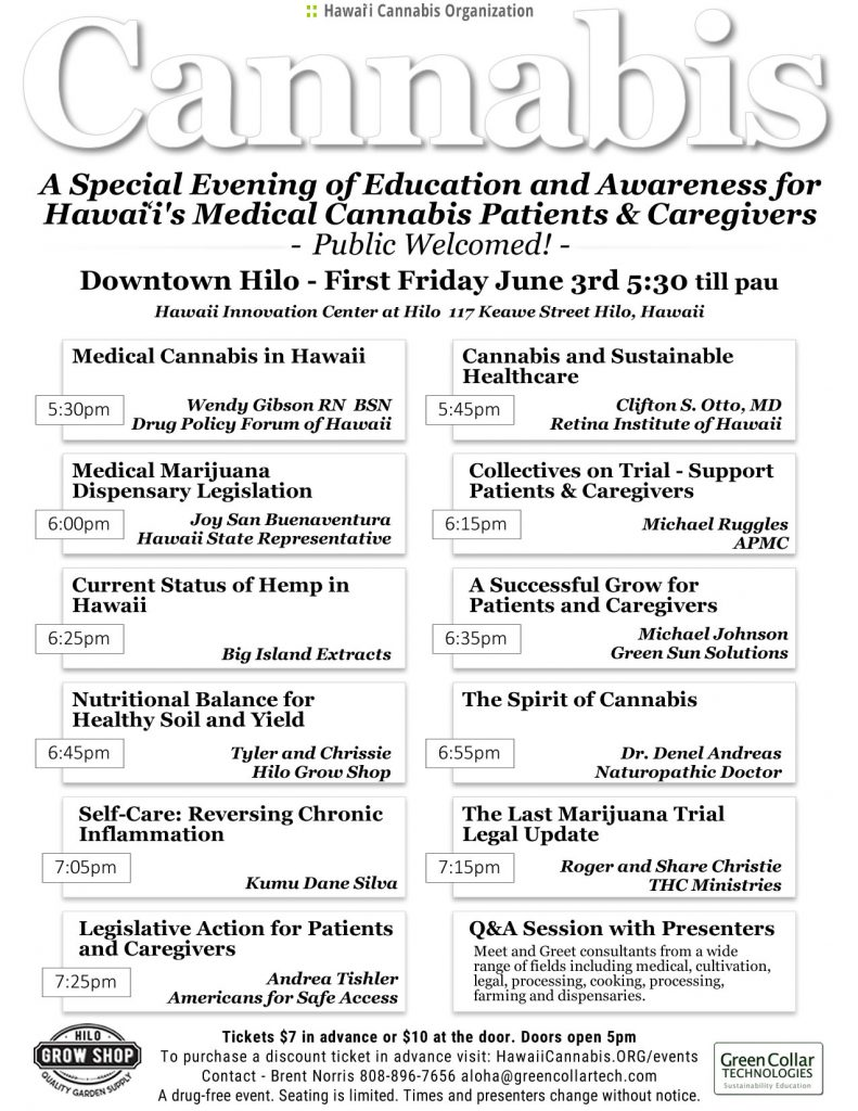 Cannabis Event in Hilo, Hawaii June 3rd 2016