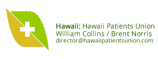 Hawaii Patients Union logo and contact information