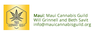 Maui Cannabis Guild logo and contact information