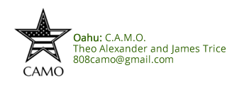 Oahu C.A.M.O. logo and contact information