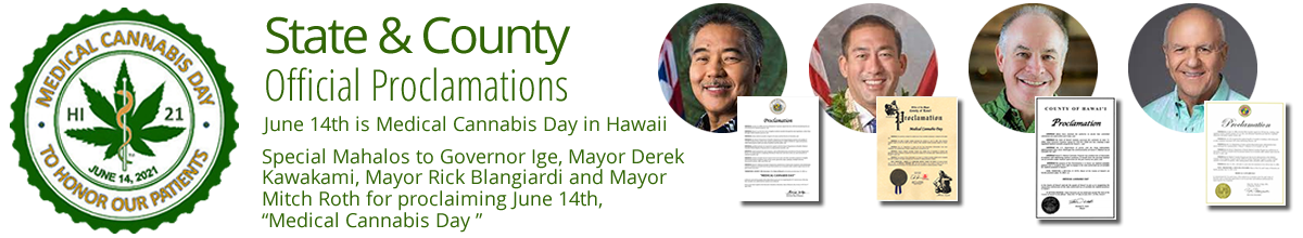 Photos of Governor Ige and Hawaii County Mayors with proclamations